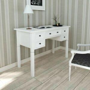 Scrivania Elegante Con Cassetti In Legno Design Moderno Ufficio Salotto Bianca Ebay