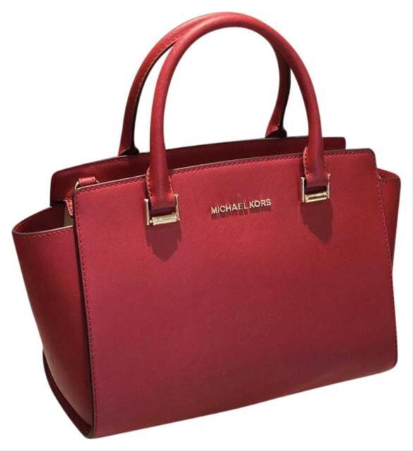 Michael Kors Saffiano Leather Selma Medium Top Zip Satchel Bag in Scarlet