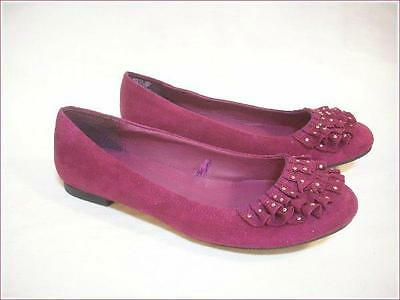 """SO"" Ballet Flats Mulberry Purple Pink Ruffles & Silver Studs Size 7-1/2 M"