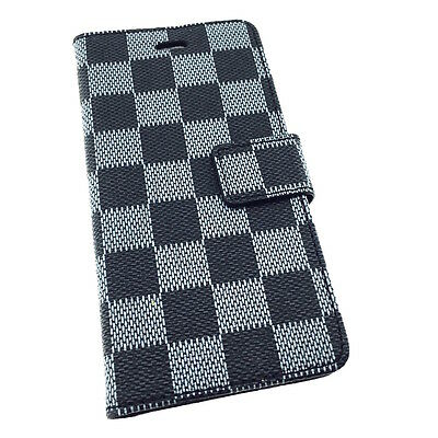 iPhone 6/6S/7/7 PLUS Quality Checkered Leather Wallet Flip Case with Card Slots