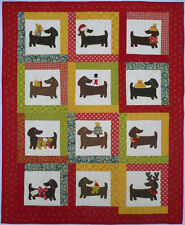 Quilt PATTERN Yule dog  Dachshund applique puppy Christmas winter holiday