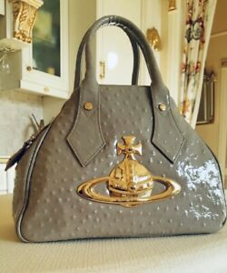 VIVIENNE WESTWOOD ICONIC ORB LOGO  YASMINE OSTRICH LEATHER BAG MADE IN ITALY