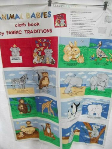 vtg Fabric Traditions Animal Babies soft cloth fabric book panel cut out sew NEW