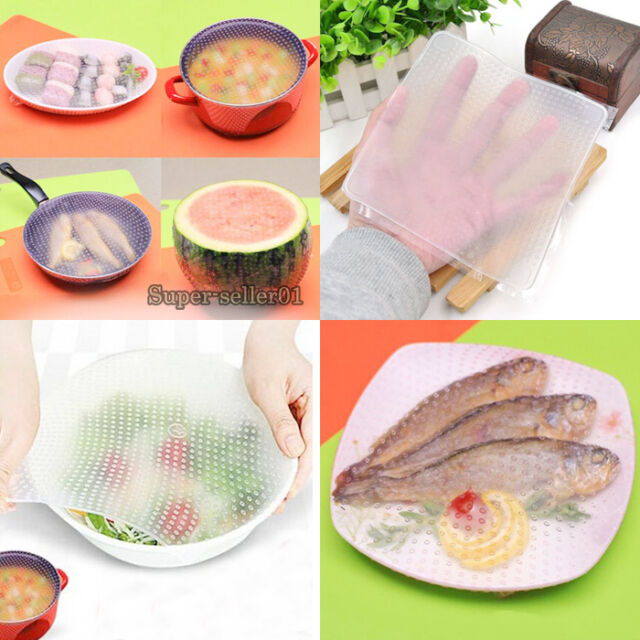 Hot Food Wrapper Silicone Wrap Seal Cover Stretch Cling Kitchen Tool  Keep Fresh