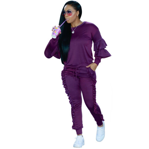 Women Ruffle Tops 2PCS Tracksuit Sweatshirt Long Pants SportsWear Jogging Suits