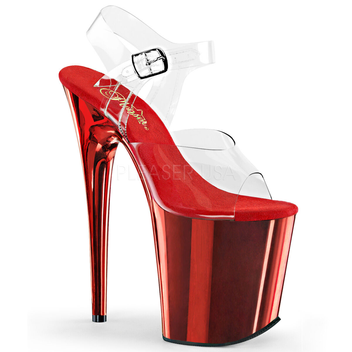 Sexy rot Chrome Plated Platform 8  High Heels Stripper Exotic Dancer schuhe