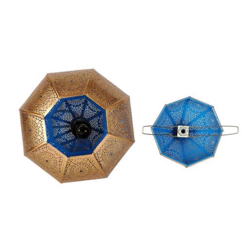 Vintage Antique Blue Lamp Pendant Ceiling Light Fixture Hanging Lantern Iron