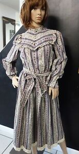 VINTAGE-LESLIE-FAY-FOR-LORD-amp-TAYLOR-FLORAL-PRAIRIE-MODEST-DRESS-BELTED-PEARLS
