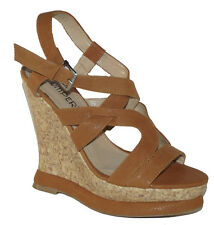 NEW Beige Camel cross strap Peep toe Platform Wedge women Sandals Shoes Size 6.5