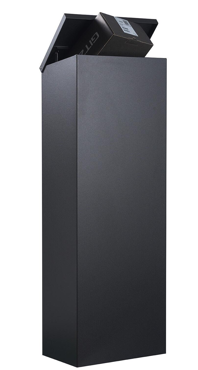 Allux 600 Paketbriefkasten schwarz  jetzt auch mit Entnahme von hinten