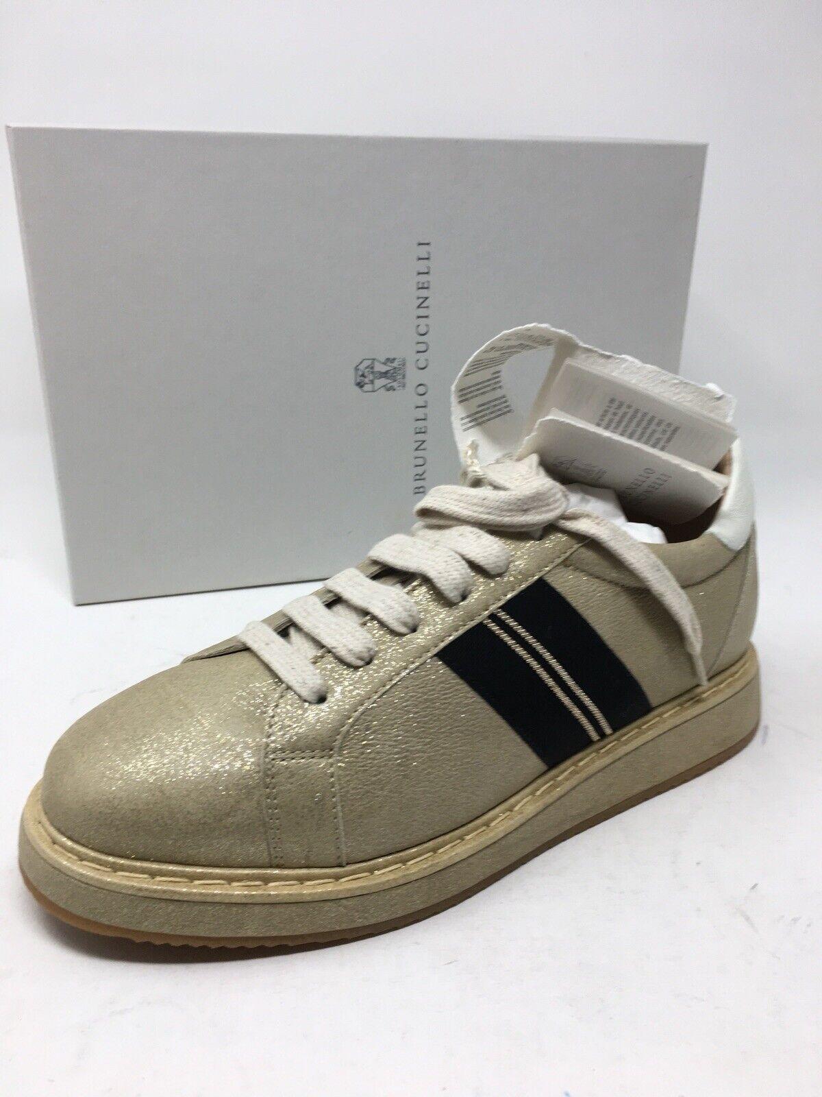 1245 New Brunello Cucinelli mujer zapatos zapatillas oro Beige Talla 8.5 US 38.5