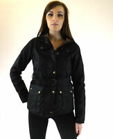 Wax Jacket Black Fitted Ladies Belted British Cotton Country Walking Outdoor