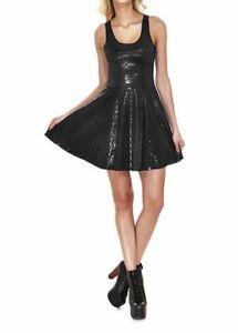 Black-Shimmer-Metal-Matte-Shiny-Mermaid-Dragon-Scales-Metallic-Skater-Dress