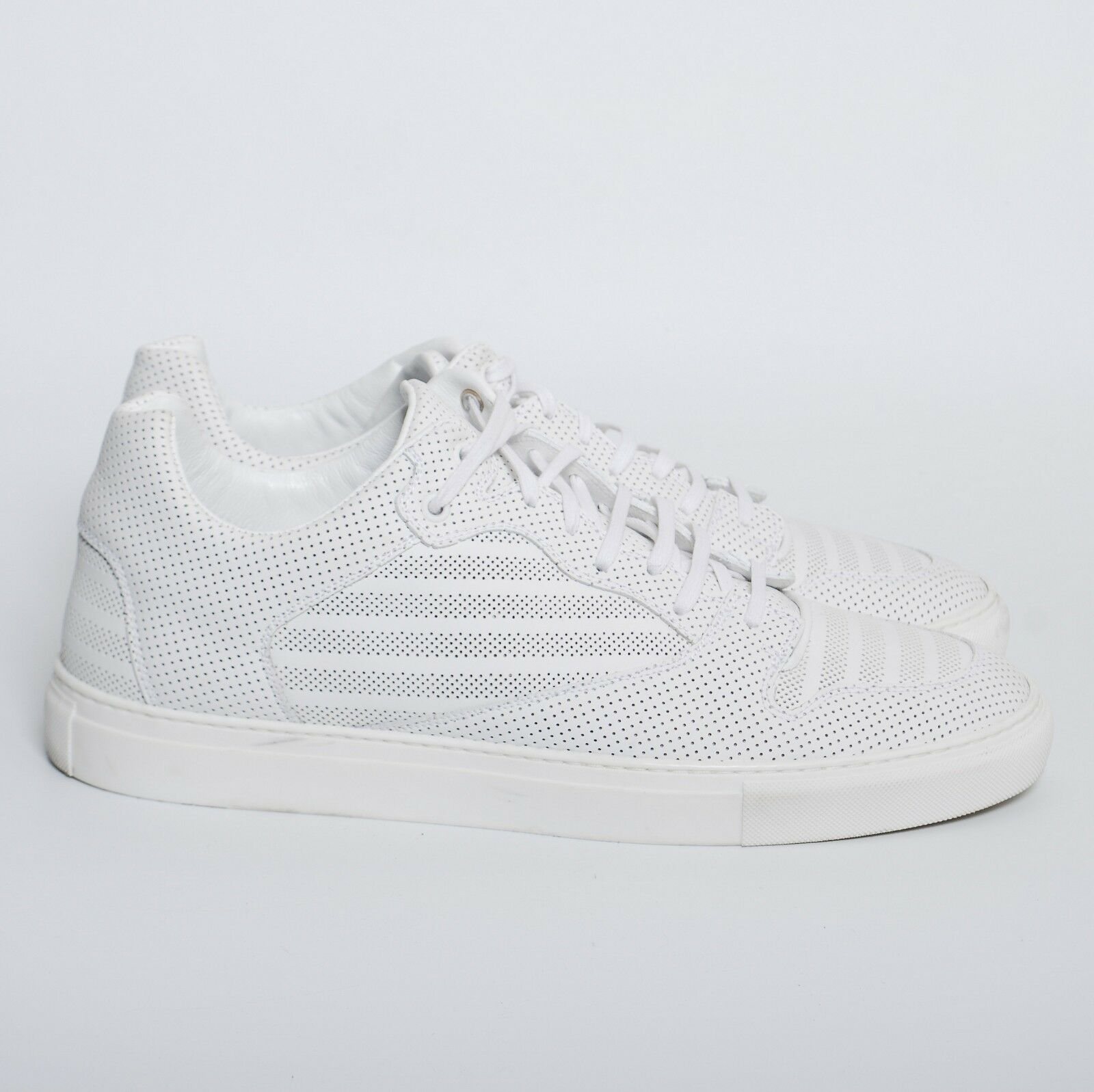 BALENCIAGA Men White Leather Low Top Sneakers Lace Up Athletic Trainers US 13
