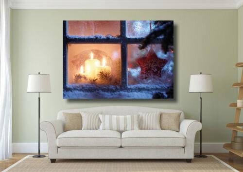 Christmas Window Scene Xmas Large Poster Wall Art Print A0 A1 A2 A3 A4