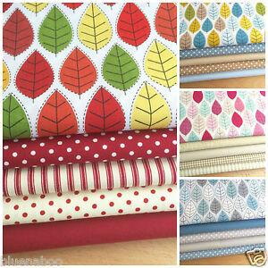 SCANDI LEAF SUMMER  fat quarter fabric bundle 5 piece 100/% cotton FREEPOST