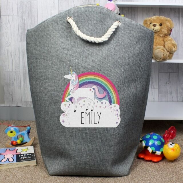Personalised Unicorn Laundry Bag Clothes Basket Children Toys Storage Bags