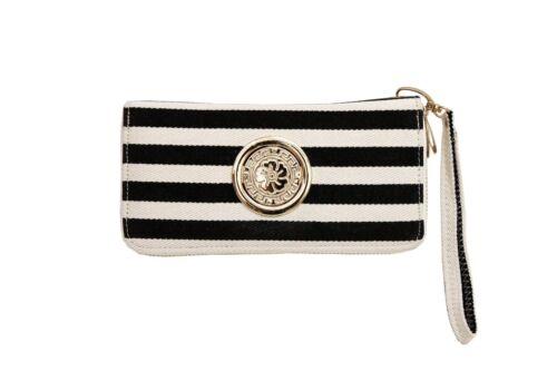 Fashion Women Stripe Wallet Double Zipper Muti Compartment Cell Phone Organizer