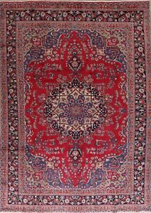 Traditional-Floral-Red-Kashmar-Area-Rug-Wool-Hand-made-Living-Room-Carpet-8-039-x11-039