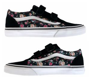 New Vans Old Skool V Butterfly Floral Black Strap Women's Sizes 7, 7.5, 8, 8.5