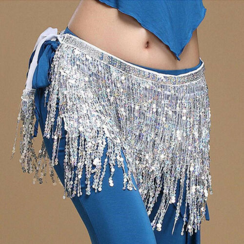 Sequins Belly Dance Dancer Coins Tassel Skirt Belt Hip Waist Scarf Wrap Costume