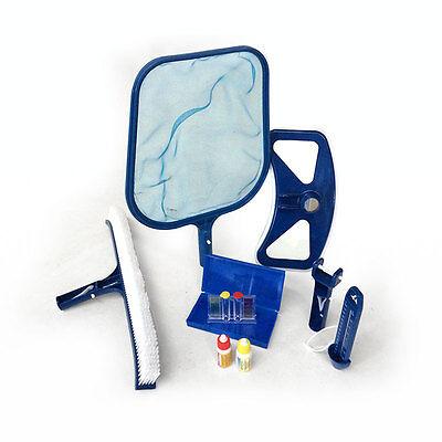 Kit di pulizia piscine fondo e superficie spazzola analisi acqua e termometro