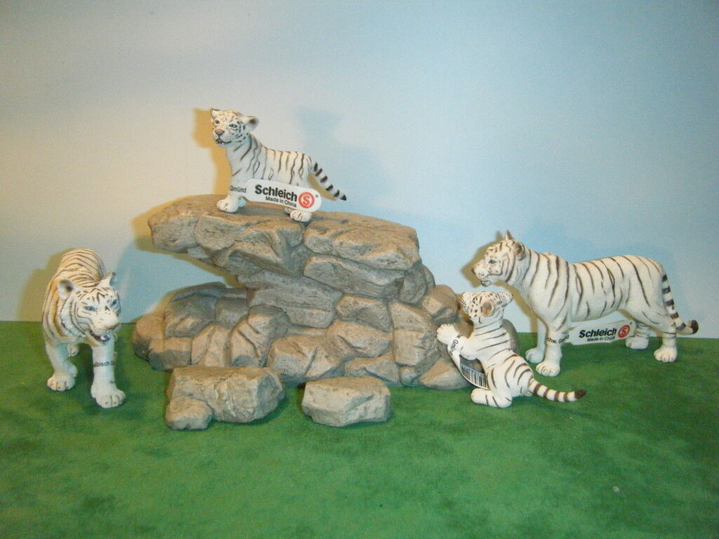 SCHLEICH Weiß TIGER 14382 TIGRESS  14383 CUB  14384 & CUB  14385 SET OF 4 NEW