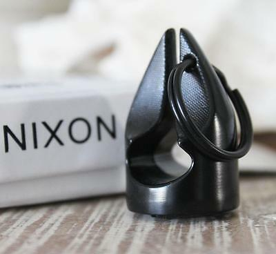 NIXON Mens ICON Keyring XL STEEL Stamp All Black Steel Brand New in Gift Box