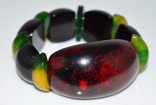 VTG RARE BAKELITE Cherry Amber Yellow Flower Reverse Carved Stretch Bracelet (B)
