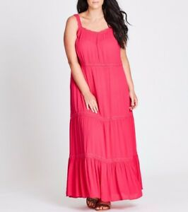 Plus-Size-Autograph-Pink-Cheesecloth-Viscose-Maxi-Dress-Size-20-Free-Post