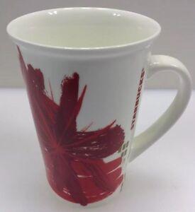 Starbucks 2014 Latte Coffee Mug White Gold Red Flower Asian Inspired Tall 12 oz
