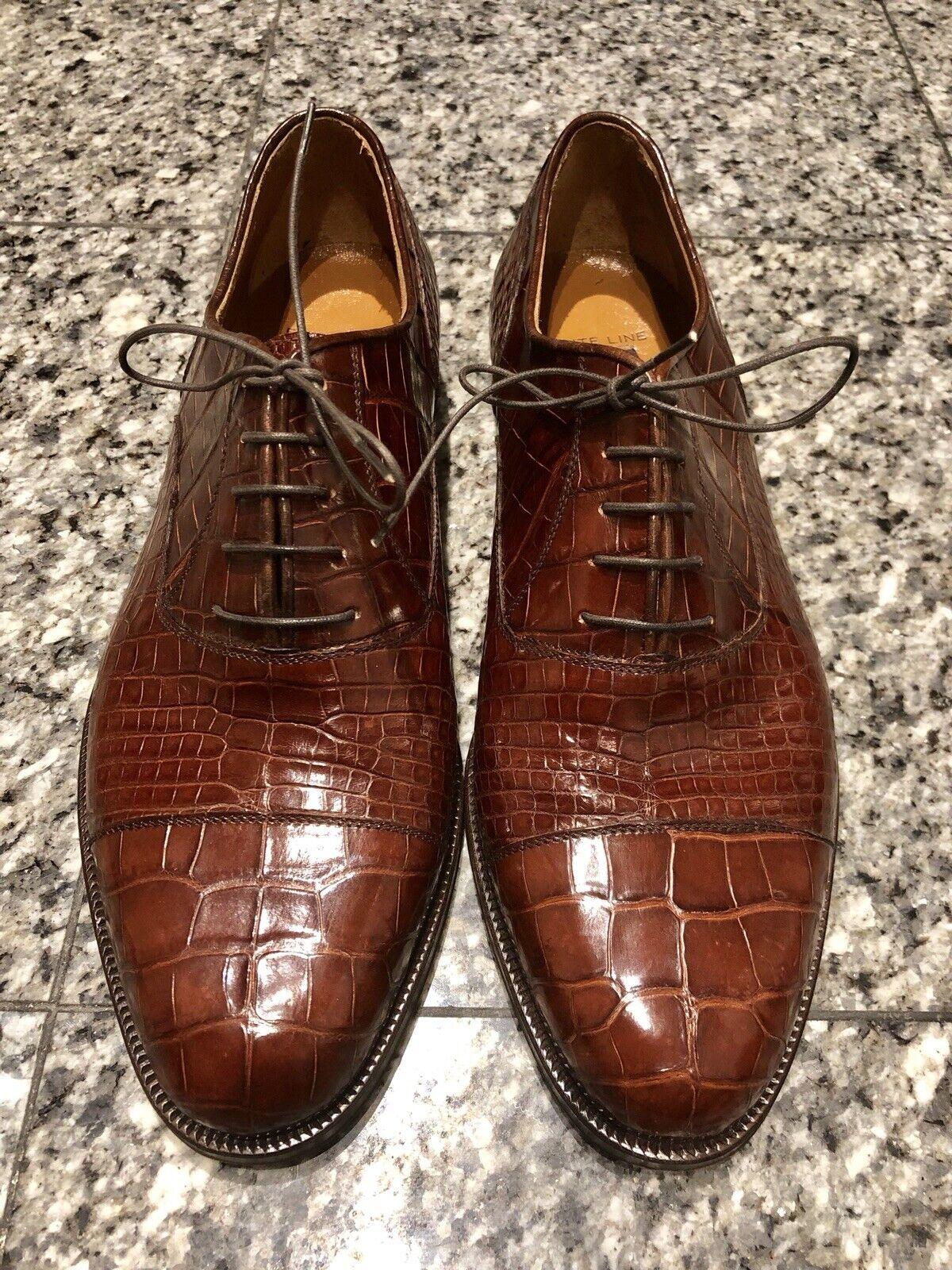 risposta prima volta Barneys New York York York Elite Line Marrone Alligator Uomo Oxford scarpe  ordina ora goditi un grande sconto