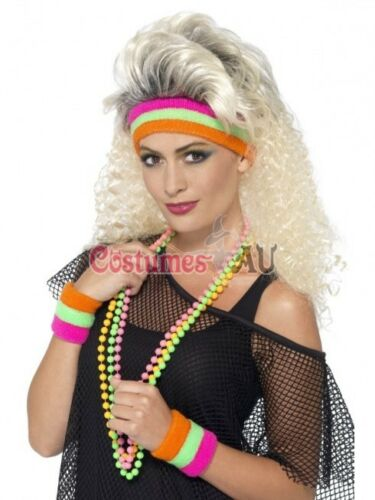 Ladies 80s Sweatbands Neon Party Headband Wristbands 1980s Disco Tennis Gym Yoga