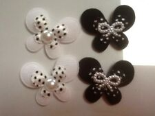 SET OF 8X40/30MM DOUBLE BUTTERFLYS 4 BLACK PEARL/BOWS 4 WHITE WITH PEARL