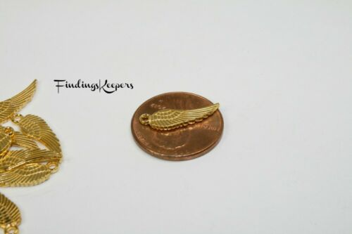 12 Angel Wing Charm Bird Wings 17 x 5 mm Gold Tone US Seller 600