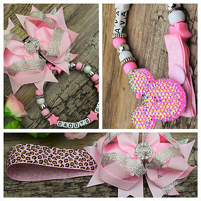 Set of 2 Personalised pram charm /&dummy clip holder for pram,carseat  hot pink