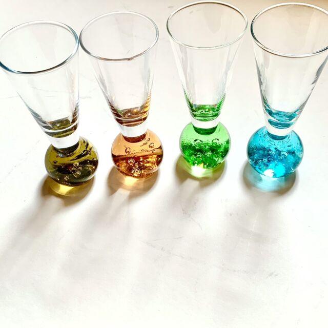 (4) Tall Shot Glasses Weighted Round Ball Bottom, Green, Blue, Maroon, Aqua