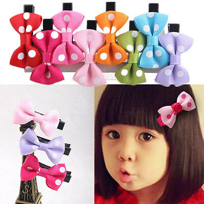 10pcs Girls Hair Clips Baby Kids Hair Pin Ribbon Bow Hair Accessories NEW SHUS