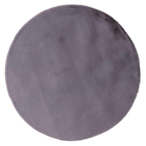 Round Gun Metal Pony Ultra Soft Faux Fur Luxurious Modern Rug Floor Mat 160x160