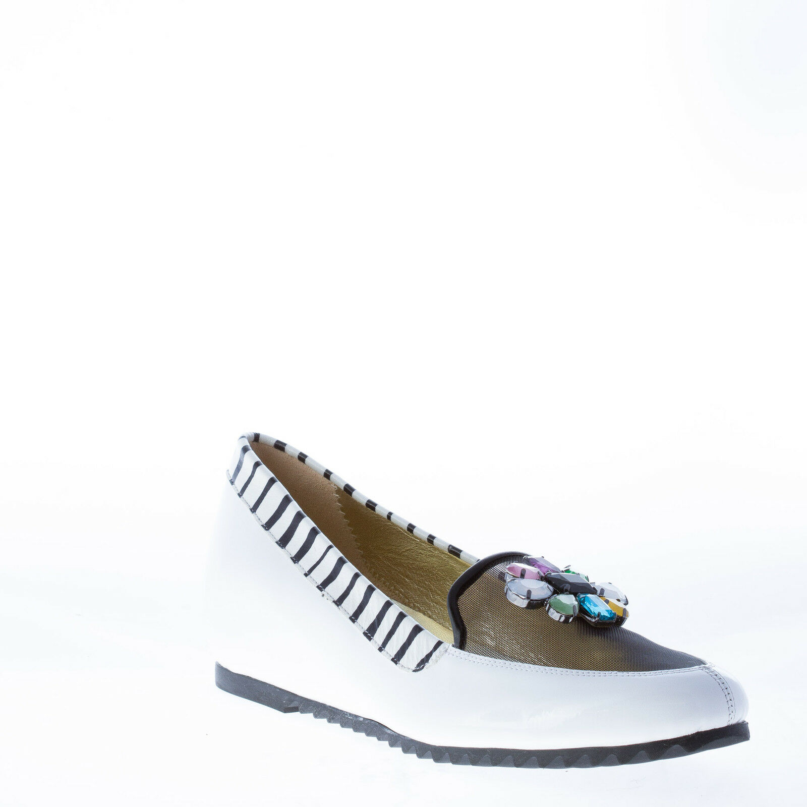 Azuree cannes and Zapatos señora mujer blanco patente Leather animalier Trim and cannes Jewel eade0d