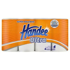 4Pck Handee Ultra Strong Absorbent Interlock Weave Paper Towel Rolls White