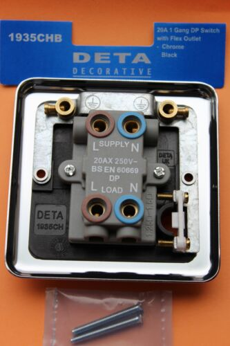 DETA 1935CHB Chrome Poli 20AX 1 G Dp Interrupteur Flex Outlet Noir Inserts//Switch
