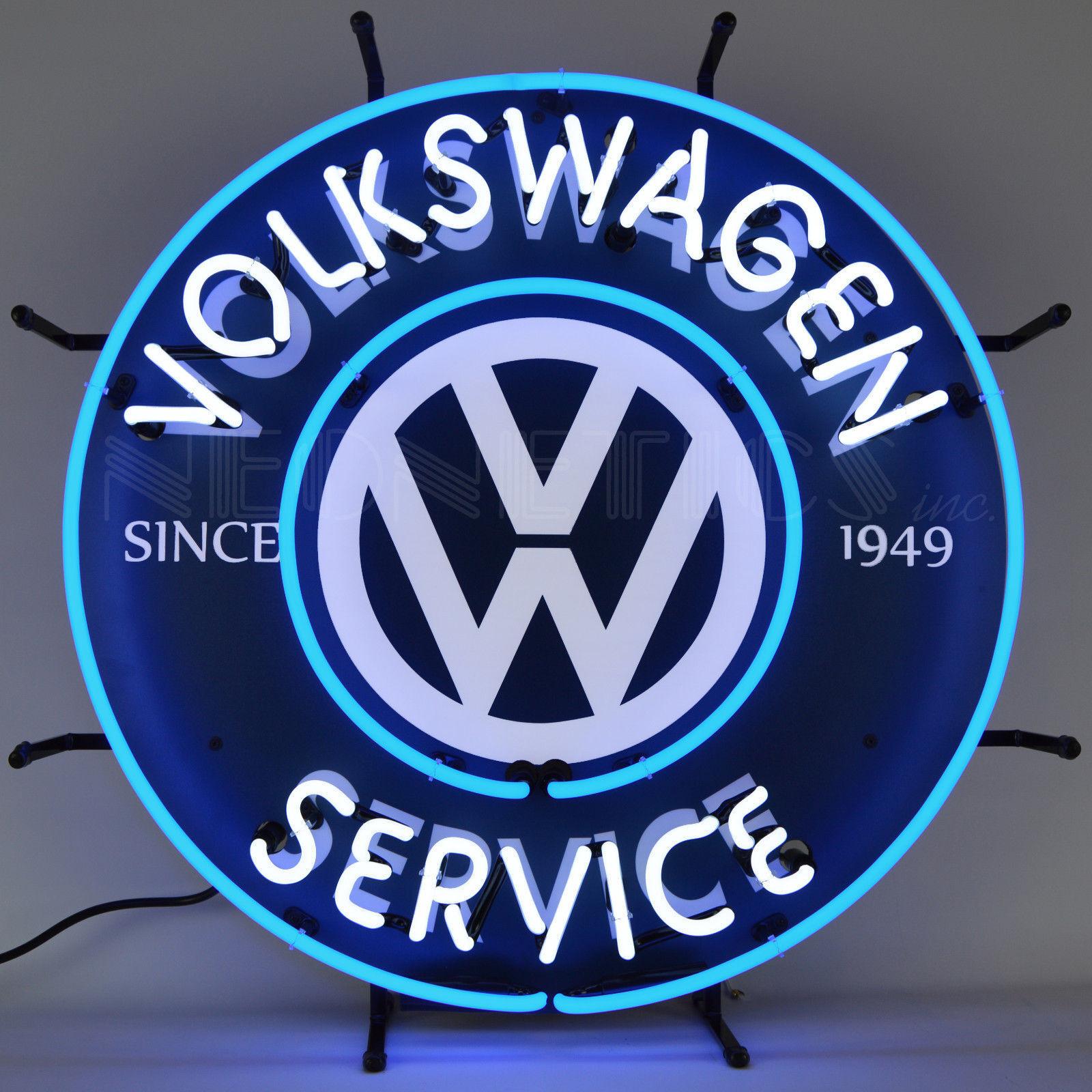 Volkswagen Service Neon Sign Since 1949 Beetle Bus