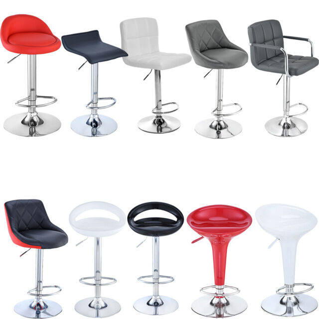 Eclipse Red Breakfast Kitchen Leather Bar Stool Barstools x 2