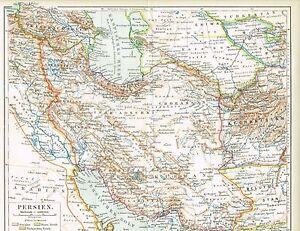 Persien Karte.Details Zu Karte Von Persien Iran Irak 1890 Original Graphik