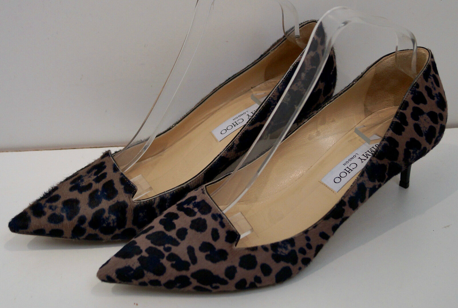 JIMMY CHOO Taupe Brown & Black Leopard Print Hair & Leather Court Pump shoes 7.5