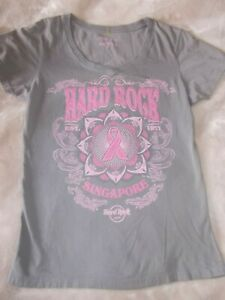 Hard-Rock-TOP-women-M-Pinktober-Breast-cancer-Shirt-Singapore-collector-top-GRAY