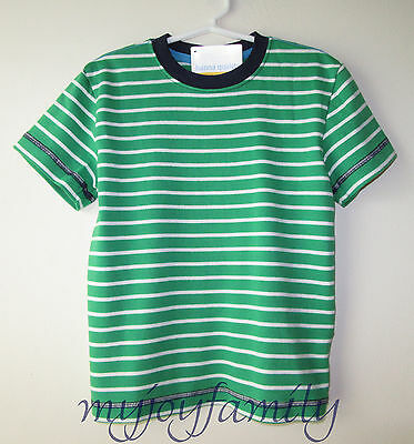HANNA ANDERSSON Organic Cotton SS Boxy Tee Shirt Green White Stripe 150 12 NWT