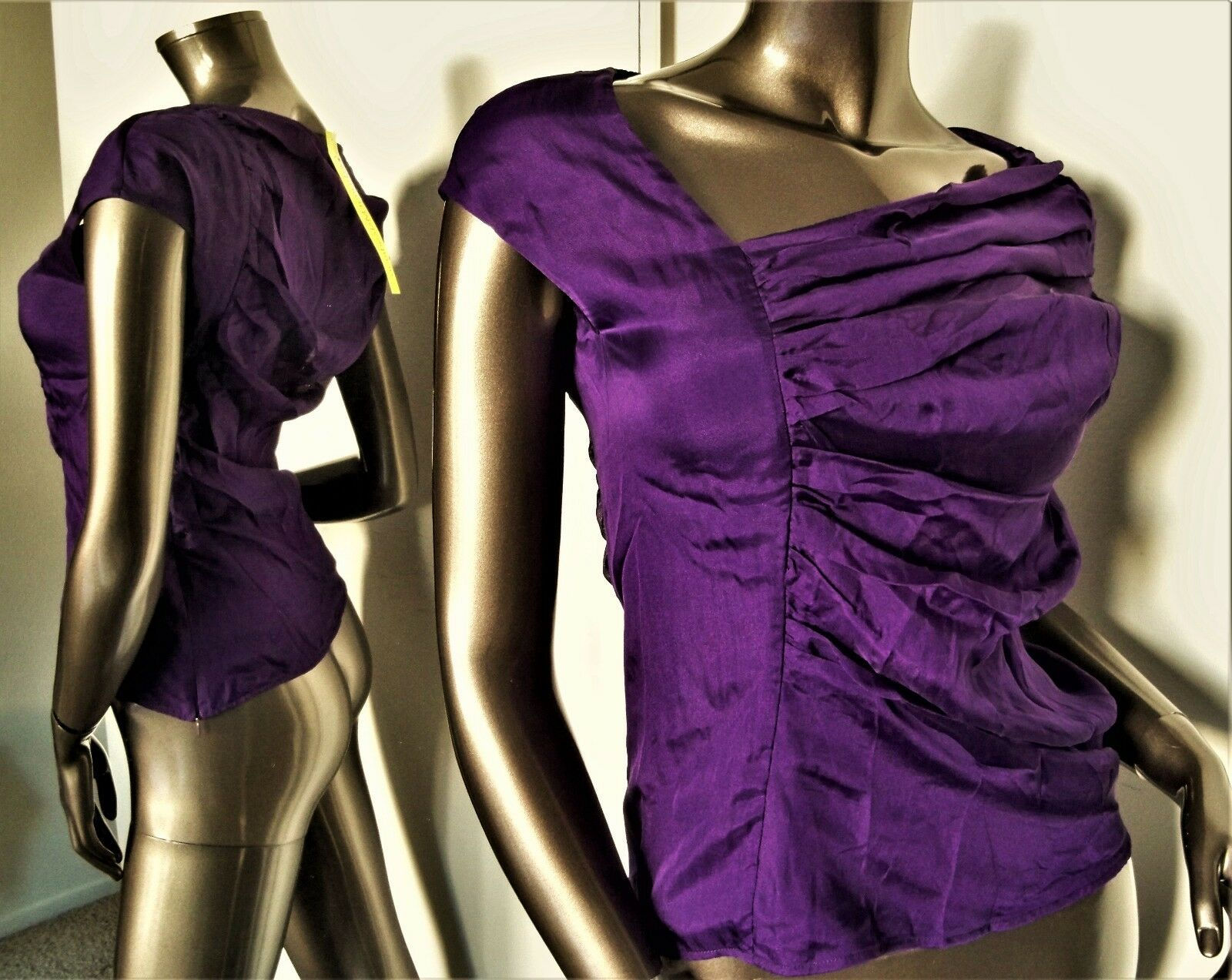 NWT-CATHERINE MALANDRINO lila DRAPED RUCHED SILK FITTED BLOUSE SZ-S MSP-