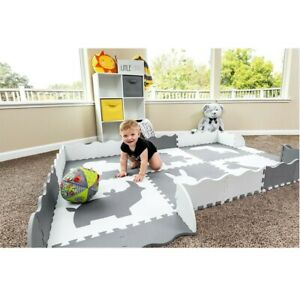 Kids Baby Play Mat Set Non-Toxic Extra Thick Foam Large with Gate Fence Crawling Baby Gyms & Play Mats